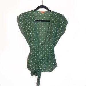 Anthropologie Midi Green Silk Silver Dot Tie Top